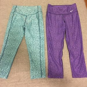 Lot of 2 Nike Epic Tights Teal and Purple Pattern